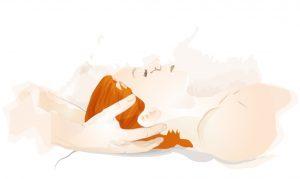 Zeichnung, die eine rothaarige Frau bei der Cranio Sacral Therapie zeigt. Osteopathie Wien.