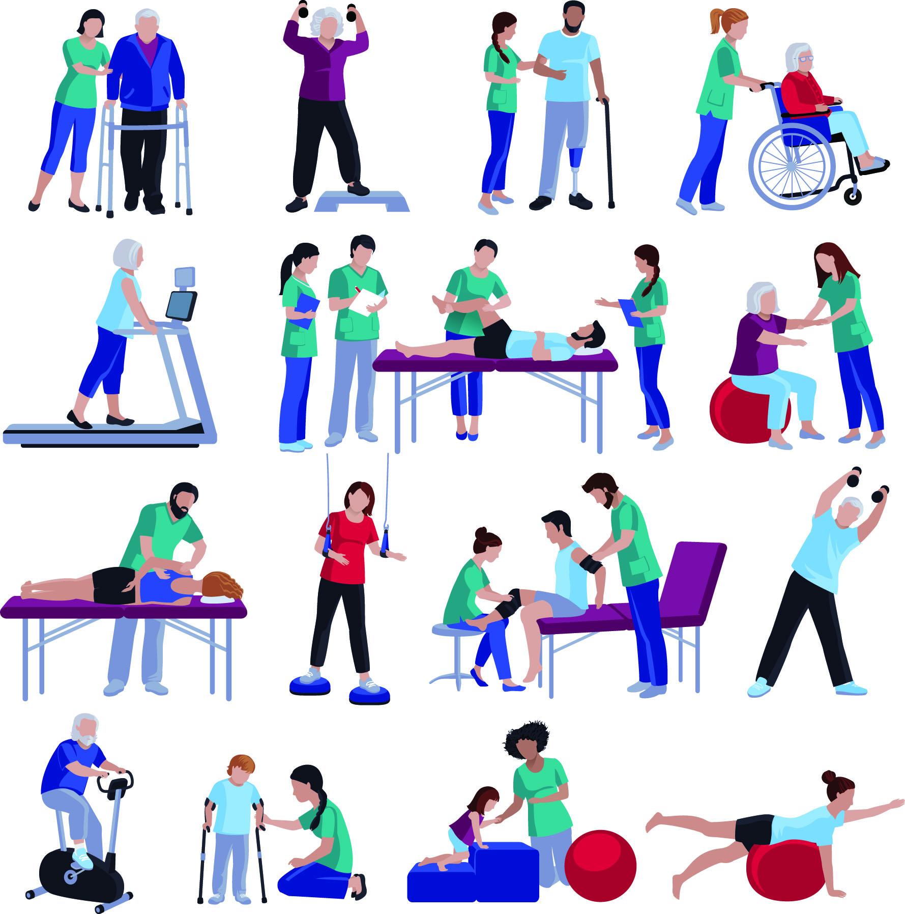 Grafische Darstellung der verschiedenen Maßnahmen, die in der Physiotherapie Linz angewendet werden, um die volle Bewegungsfähigkeit des Patienten wieder herzustellen.