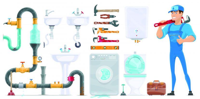 Grafik eines Installateurs und seiner Werkzeuge. Wasserversorgung über ein Hauswasserwerk aus einer Zisterne.