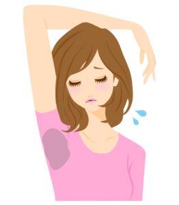 Grafik von einer jungen Frau mit braunen Haaren und einem rosa Shirt, bei dem sich durch starkes Schwitzen massive Schweißflecken unter den Armen gebildet haben.