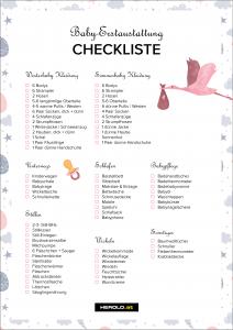 Baby Erstausstattung Checkliste pdf