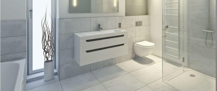 weiße Badezimmer Fliesen