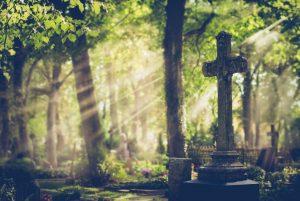 Altes Grabmal in einem wunderschönen Wald, der für die Naturbestattung erschlossen ist.