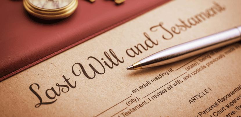 Testament und Kugelschreiber