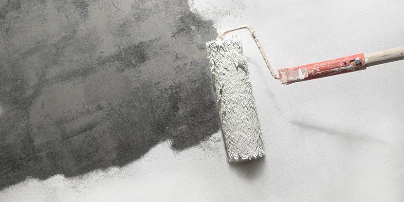 Wohnung streichen: Eine Farbrolle mit weißer Farbe, mit der eine graue Wand gestrichen wird.