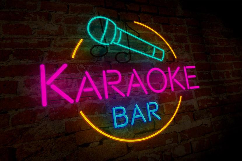 Karaoke Bar Wien: Ein Neonschild mit der Aufschrift Karaoke Bar