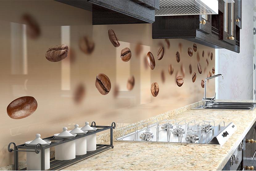Küchenrückwand Glas mit Kaffeebohnen Muster