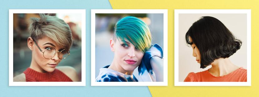 Verschiedene Kurzhaarfrisuren: Pixie, Sidecut, French Bob mit Stirnfransen