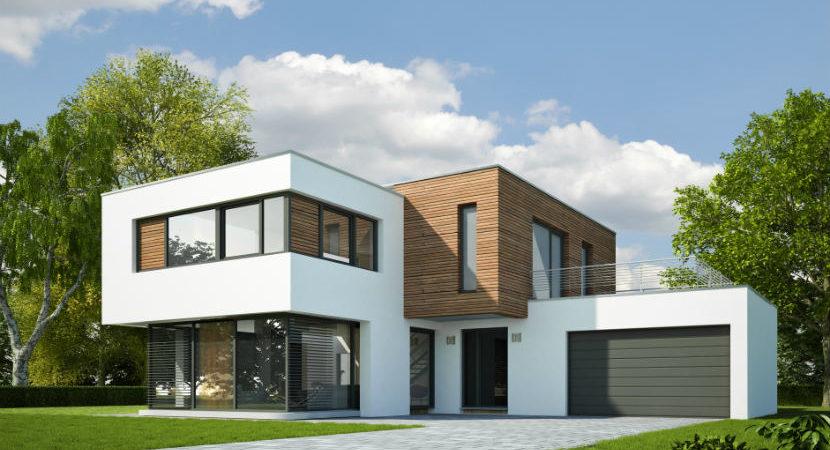 Grafik eines Einfamilienhauses.