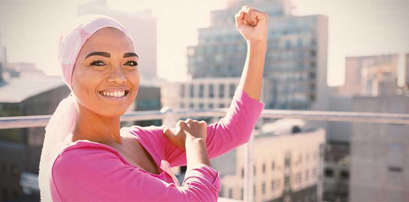 Junge Frau nach Chemotherapie aufgrund von Gebärmutterhalskrebs.