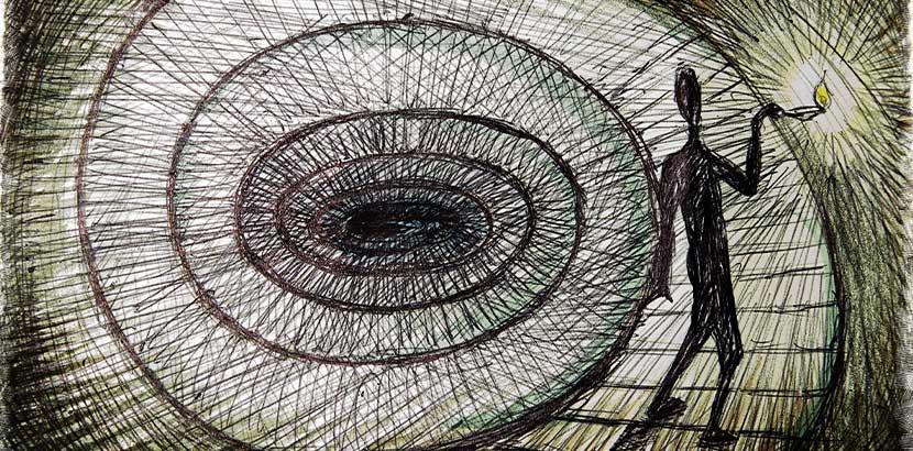 Zeichnung von einem Schatten, der seinen dunklen Weg erhellt. Psychotherapeut Wien.