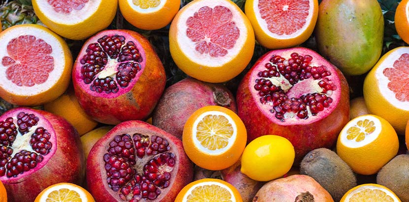 Trockene Haut Ernährung: Grapefruits, Orangen und Zitronen mit vielen Vitaminen
