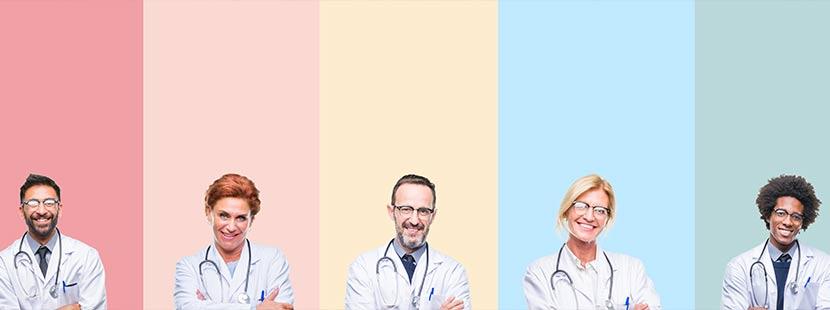 Sechs Ärzte und Ärztinnen vor verschieden farbigen Hintergründen. Welcher Arzt wofür zuständig?