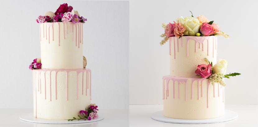 Hochzeitstorten Vintage mit Drip Glasur und Blumen verziert