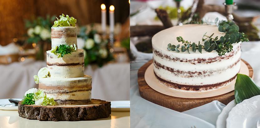 Hochzeitstorten Semi Naked Cakes mit Buttercreme, Eukalyptus und Sukkulenten