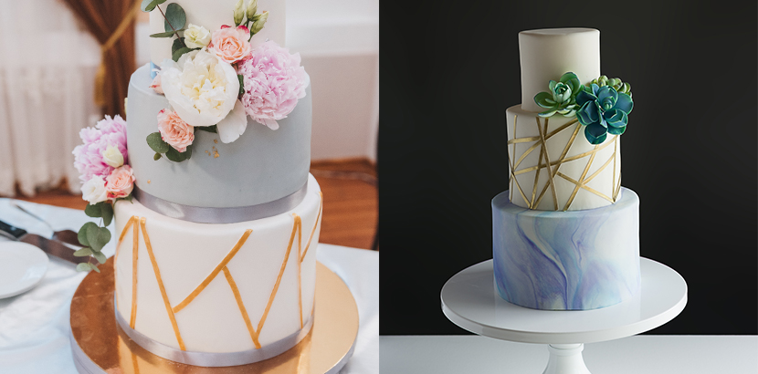 Hochzeitstorten mit geometrischen Mustern