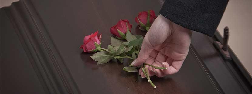 Frauenhand, die bei einer Bestattung rote Rosen auf einen dunklen Sarg legt. Bestatter Wien.