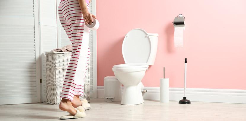 Unterkörper einer Frau in Hausschuhen, die mit einer Rolle Toilettenpapier in der Hand vor dem WC steht. Inkontinenz bei Frauen.