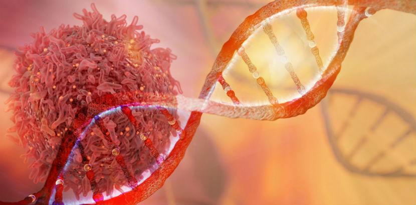 Lungenkrebs: DNA Strang und Krebszelle