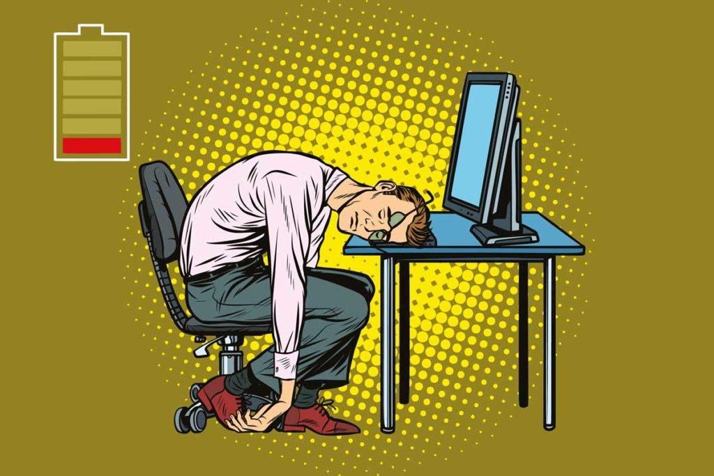 Grafik eines Geschäftsmannes, der absolut energielos am Schreibtisch sitzt. Schlaflabor Wien Kosten.