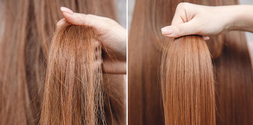 Kupferrote lange Haare vor und nach der Olaplex Behandlung, Gegenüberstellung, Vergleich. Olaplex Wien.