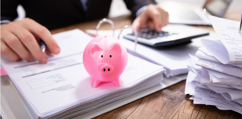 Steuerberatung Salzburg: ein Sparschwein auf einem Ordner