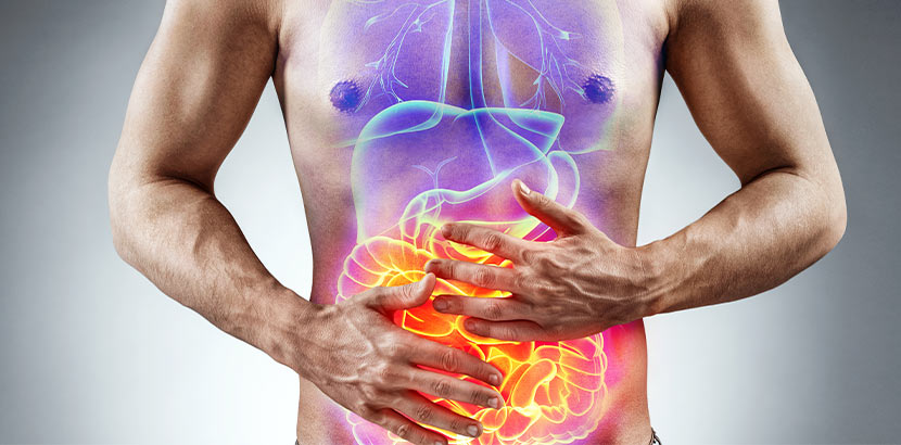 Ein Mann hält die Hände über seinen Bauch und eine Grafik von Dünndarm und Dickdarm.