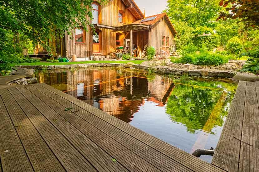 Ein Naturpool voller Wasser mit Haus und Terrasse aus Holz im Hintergrund.