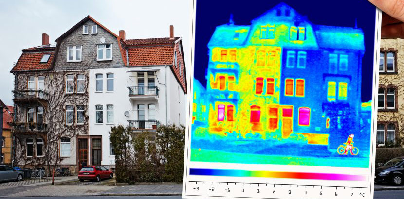 Thermografie an Häuserfassade