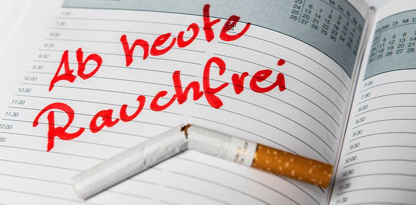 Datum für Rauchstopp nach Schlusspunktmethode in einem Kalender.