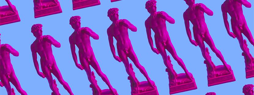 Kunst kaufen: David (pink) in Serie vor blauem Hintergrund