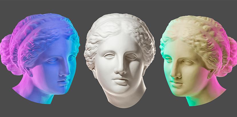 Kunst kaufen: Skulptur in drei Ansichten (Vektorgrafik)