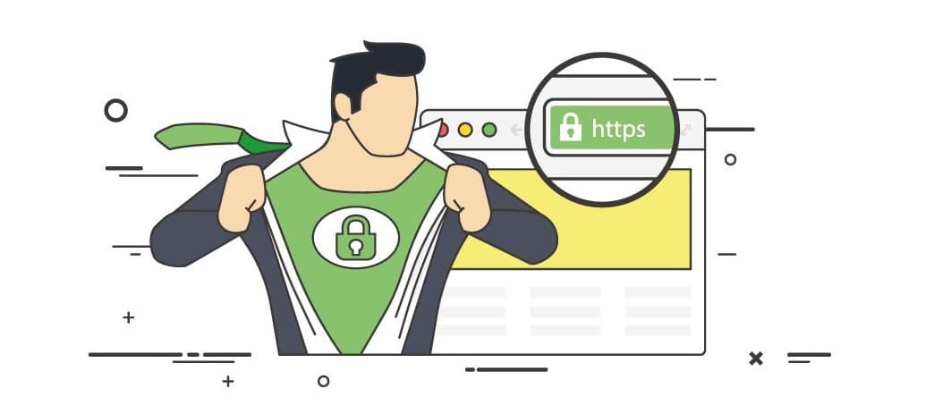 Website ohne SSL Zertifikat: Grafik eines SSL-Supermans, der die durch TSL Zertifikat geschützte Verbindung symbolisiert.