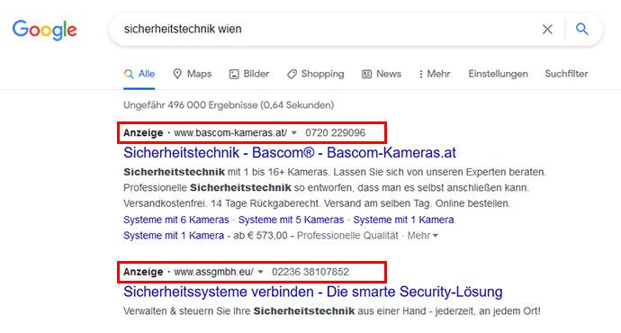Anzeige von Google Ads bei lokaler Suchanfrage. Sichtbarkeit für Werbetreibende.
