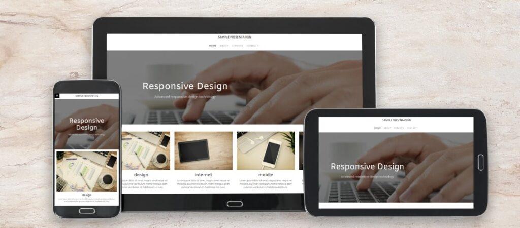 Website, die dank Responsive Design auf drei verschiedenen Endgeräten dargestellt wird.