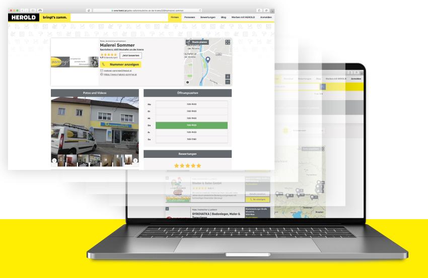 Darstellung von HEROLD Firmeneintrag auf Laptop Bildschirm von Konsument bei Online Suche.