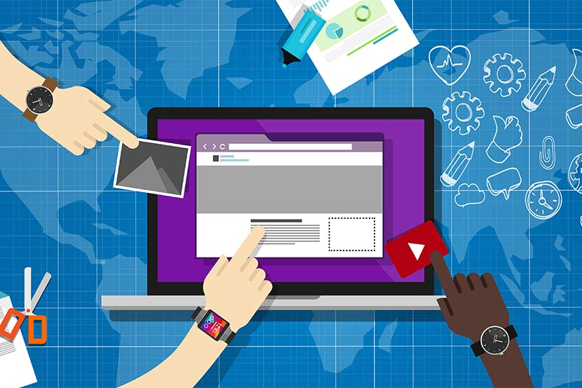 Mehrere Menschen verwenden Backend-Editor für das Einfügen von Bildern, Youtube-Links und Text.