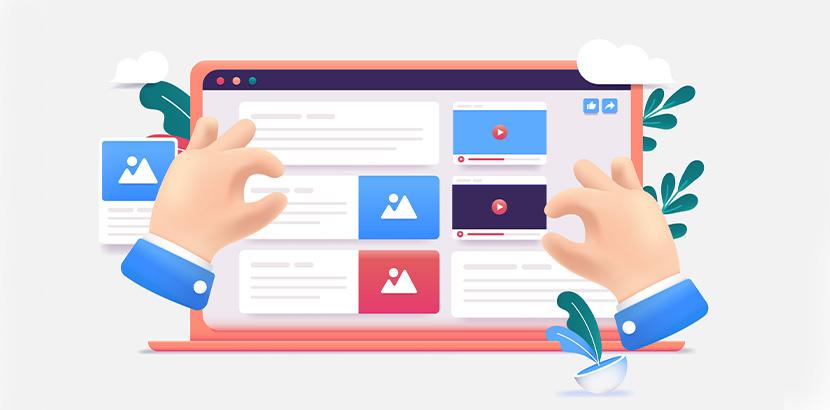 Nutzer verwendet Website-Editor um neue Homepage aus vorgegebenen Features zu bauen.