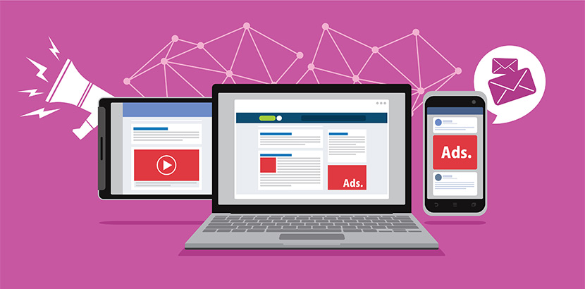 Ads auf einer Webseite, einem Smartphone und vor Videos. Digital Marketing