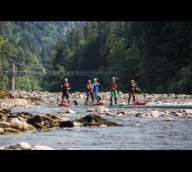 SUP Abenteuer Standup Paddeling WW auf der unteren Bregenzer Ache Adventure Sports
