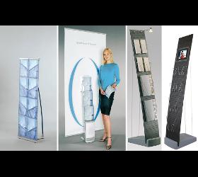 Mobile Prospektständer, faltbare Prospekthalter aus Aluminium, Plexiglas