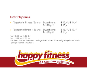 HAPPY FITNESS SAUNA TAGESKARTE